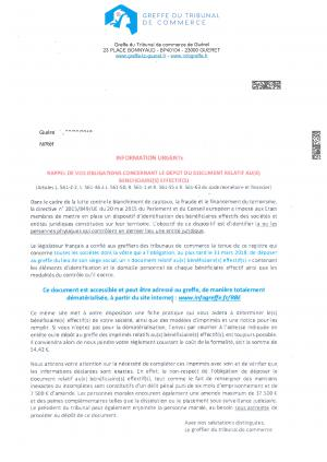 Courrier du tribunal de commerce.