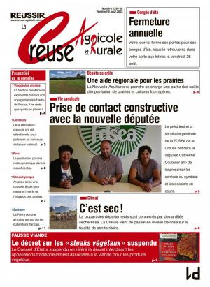 La couverture du journal La Creuse Agricole n°2181 | avril 2018